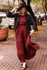 Satin Statement Mahogany Tiered Ruffle Maxi Dress front view (stylized).