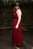 Satin Statement Mahogany Tiered Ruffle Maxi Dress side view.