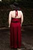 Satin Statement Mahogany Tiered Ruffle Maxi Dress back view.
