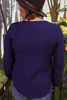Powerful Being Deep Navy Button Down Long Sleeve Blouse with Tie back view.