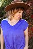 Trendy Tie Front Blouse in Capri Blue