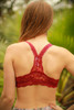 Delicately Stunning Y-Back Lace Bralette in Burgundy back view.