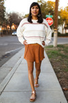 The Mary Ann Slightly White Textured Stripe Pullover Knit Sweater
