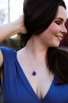 Diamond Stone Pendant Necklace in Bluish