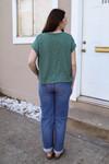 Dolman Sleeve Knit Tee in Green