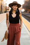 Wide Legged Pants with Shirred Waistband