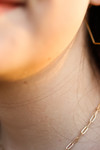 Gold Initial Necklace with Paper Clip Chain
