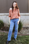 Wide Neck Waffle Knit Top