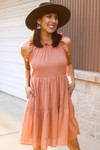 High Neck Cotton Ruffle Dress in Dusty Coral
