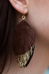 Brown Leather Earrings with Gold Foil