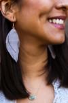 Layered Fringe Leather Hook Earrings in Grey