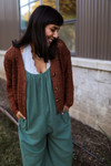 Shadow Green Gauze Jumpsuit with Pockets