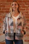 The Avery Jayne Geometric Print Wanderer Jacket in Grey.