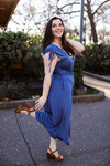 The Ada Marie Wide Leg Jumpsuit in Dolphin side view.