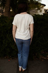 The Heather Grace Cotton V-Neck Tee back view.