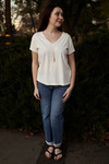 The Heather Grace Cotton V-Neck Tee front view.