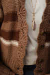 The Heather Grace Clay Striped Cardigan with Scalloped Edge detail view.