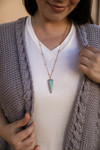 Stone Arrow Pendant Necklace in Amazonite.