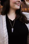 Stone Arrow Pendant Necklace in Black and White.