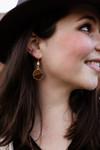 The Ellen Kay Natural Faceted Stone Drop Earrings in Dark Brown