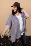 The Ellen Kay Braided Knit Ruana in Gray front view.