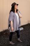 The Ellen Kay Braided Knit Ruana in Gray side view.