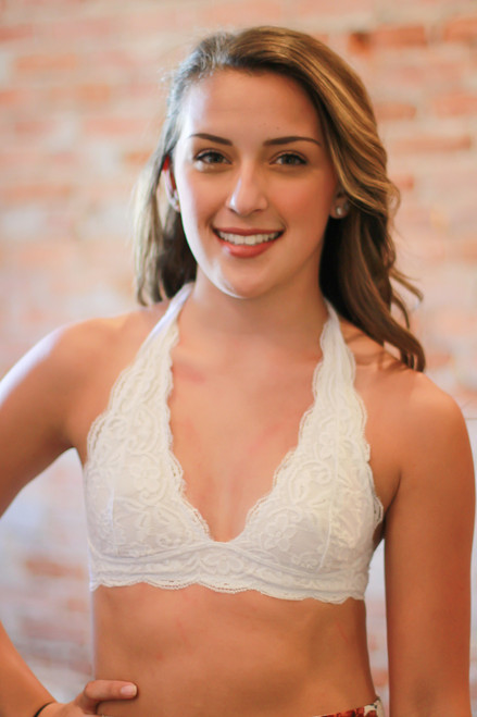 Let There Be Lace Halter Bralette in White front view.