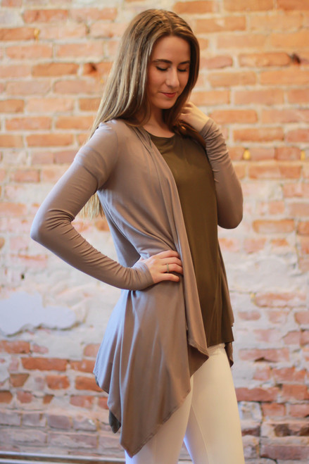 Simply Basics Mocha Handkerchief Cardigan with Hood side view.