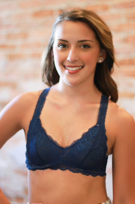 Delicately Stunning Y-Back Lace Bralette in Navy front view.