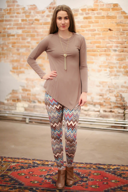 Simply Basics Mocha Asymmetrical Long Sleeve Tunic full body front view.