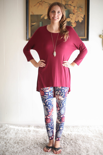 Simply Basics Wine Slouchy 3/4 Sleeve Top full body front view.