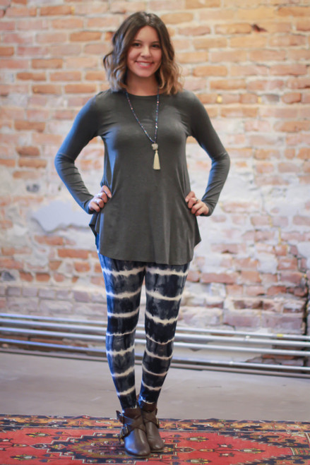 Simply Basics Charcoal Long Sleeve Top full body front view.