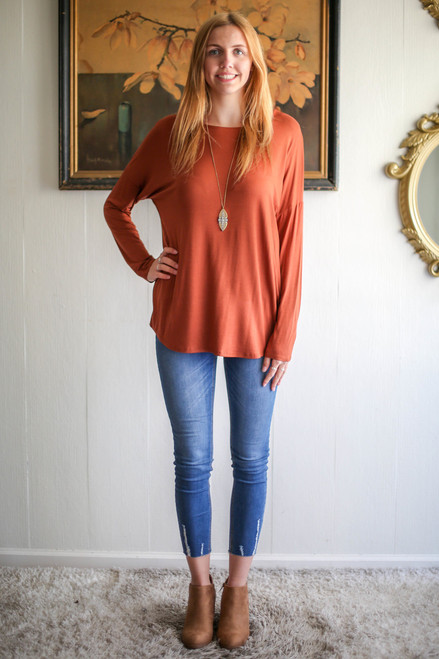 Simply Basics Hazelnut Comfy Long Sleeve Tunic full body front view.