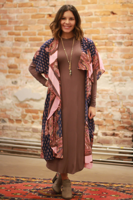 Simply Basics Chocolate Long Sleeve Midi Dress full body front view.