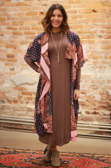 Simply Basics Chocolate Long Sleeve Midi Dress full body front view.