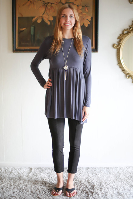 Simply Basics Dark Gray Long Sleeve Ruffle Tunic full body front view.