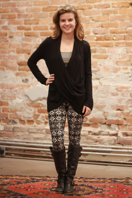 Simply Basics Black Long Sleeve Wrap Tunic full body front view.