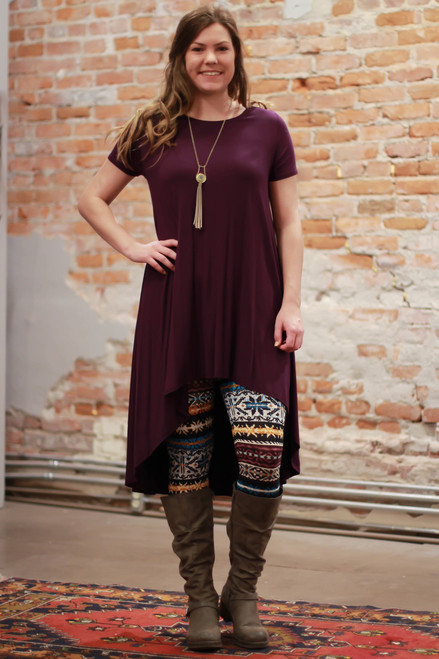 Simply Basics Eggplant Short Sleeve High Low Tunic Dress full body front view.