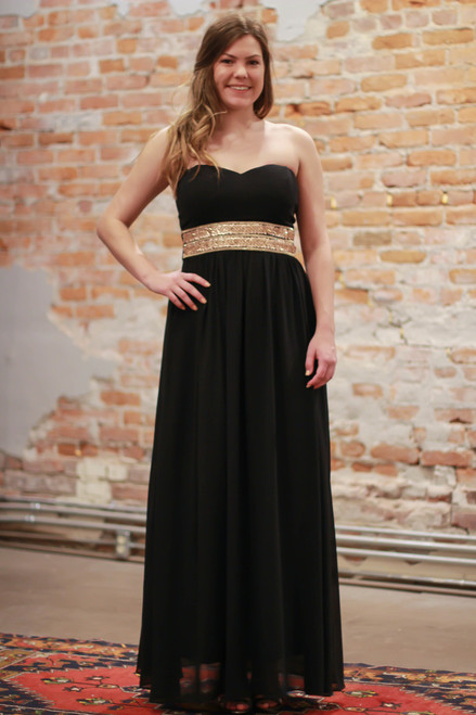 Effortlessly Embellished Black Maxi Dress with Beading front view.