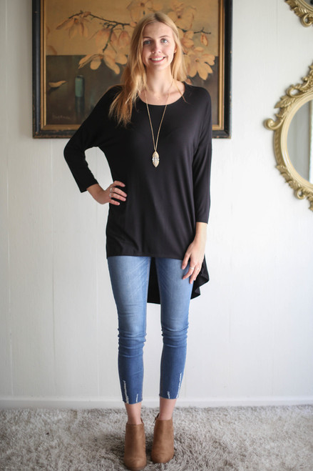 Simply Basics Black Slouchy 3/4 Sleeve Top full body front view.
