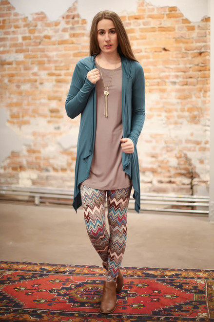 Simply Basics Teal Agua Handkerchief Cardigan with Hood full body front view.