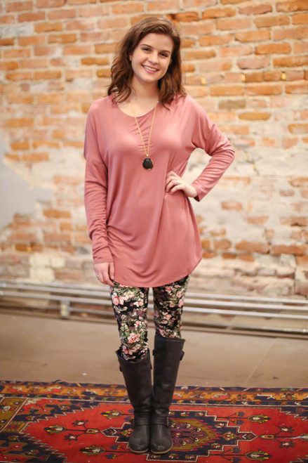 Simply Basics Dusty Rose Comfy Long Sleeve Tunic full body front view.