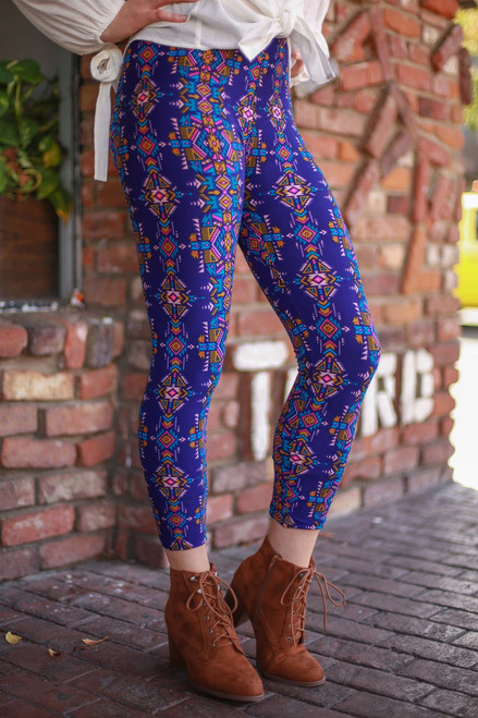 Midnight Aztec Printed Butter Soft Leggings front-side view.