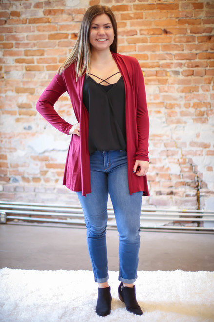 Simply Basics Wine Everyday Long Sleeve Cardigan full body front view.