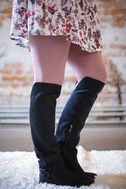 Simple Perfection Mauve Butter Soft Leggings side view.