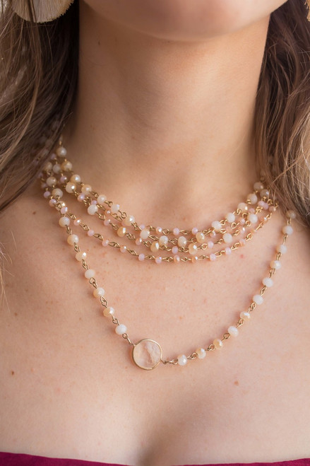 Layered Faceted Glass Bead Necklace in Natural