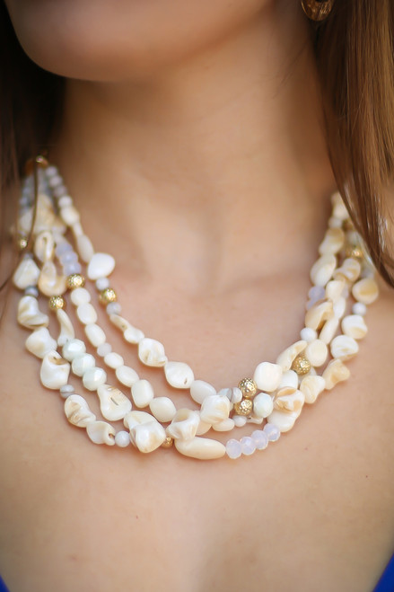 Under the Sea Natural Shell and Stone Layered Necklace