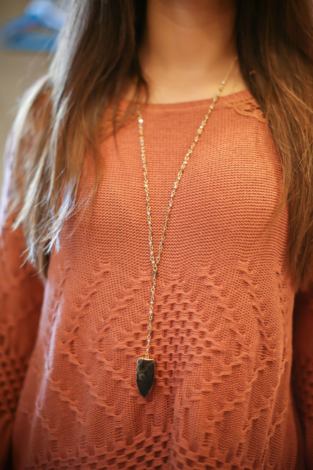Gold Plated Arrowhead and Glass Bead Rosary Pendant Necklace in Black