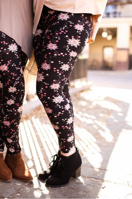 Pink Star Flower Floral Printed Super High Waist Butter Soft Leggings
