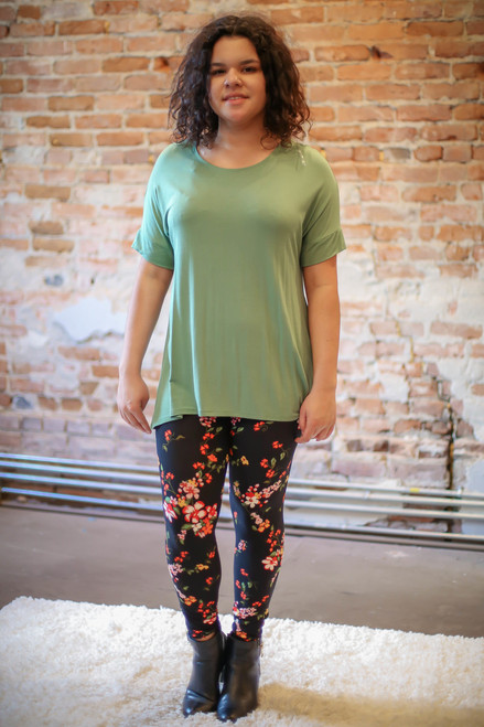 Simply Basics Sage Short Sleeve Tunic full body front view.